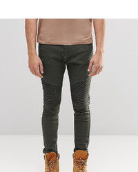 Liquor N Poker Super Skinny Fit Biker Jeans In Khaki 6