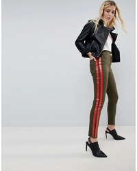 ASOS DESIGN Asos Deconstructed Skinny Trousers With In Khaki
