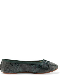 Eres Stiletto Snake Effect Leather Ballet Slippers Forest Green