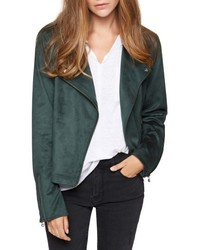 Dark Green Suede Biker Jacket