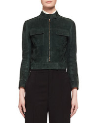 Chloé Chloe Suede Cropped Biker Jacket Dark Green