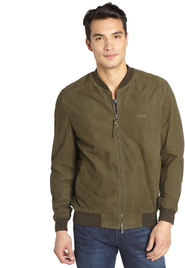 Gucci Dark Green Suede Zip Front Bomber Jacket | Where to buy ...