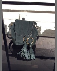 See by Chloe Polly Suede Flap Bucket Bag Dark Forest