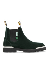 Lanvin Green Suede Ankle Chelsea Boots