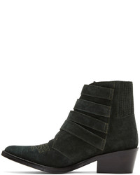 Toga Pulla Green Suede Four Buckle Western Boots
