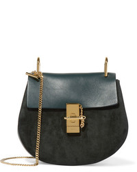Drew small leather and suede shoulder bag forest green medium 828961