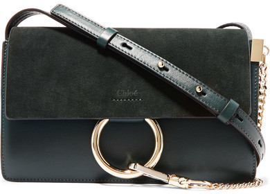 a78f2ac2 $1,390, Chloé Faye Small Leather And Suede Shoulder Bag Forest Green