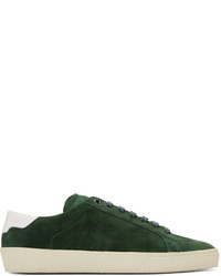 Dark Green Suede Low Top Sneakers
