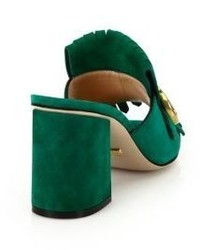 8fdc44d09cf ... Gucci Marmont Gg Kiltie Suede Block Heel Mules ...