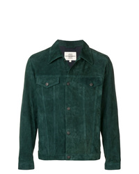 Dark Green Suede Shirt Jacket
