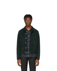 Paul Smith Green Suede Trucker Jacket
