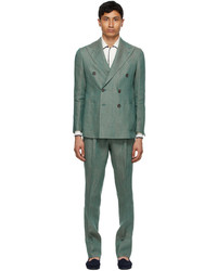 Doppiaa Green Linen Aareseant Double Breasted Suit