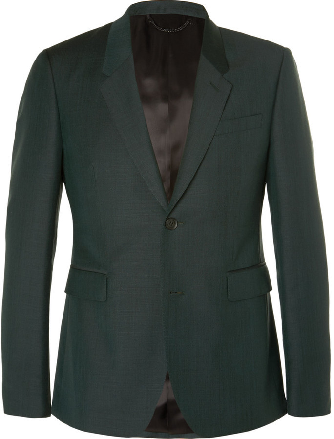 Burberry Prorsum Dark Green Slim Fit Mohair And Wool Blend Suit