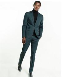 Express Slim Green Cotton Blend Suit Jacket