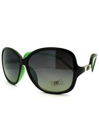 106Shades Dg Eyewear Oversized Round Sunglasses With Low Crooked Temples Green