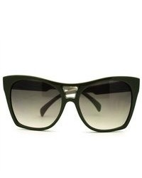 106Shades Trendy Large Coverage Oversized Cat Eye Sunglasses Green