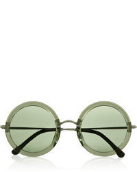 The Row Leather Trimmed Round Frame Acetate And Metal Sunglasses
