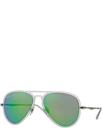 Ray-Ban Mirror Matte Clear Aviator Sunglasses Green