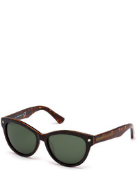 Dsquared2 Plastic Cat Eye Sunglasses Havanadark Green