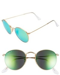 Ray-Ban 50mm Round Polarized Sunglasses Gold Blue Mirror