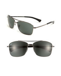 Ray-Ban 60mm Aviator Sunglasses Gunmetal Green One Size