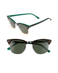 Ray ban classic clubmaster 51mm sunglasses brown green one size medium 177890