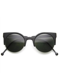 ZeroUV Fashion Half Frame Round Cateye Sunglasses