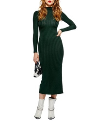 Topshop High Neck Ribbed Midi Dress
