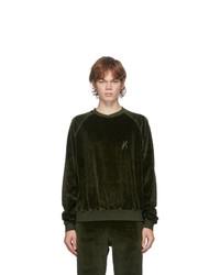 Haider Ackermann Khaki Velvet Embroidered Sweatshirt