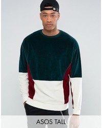 Asos Tall Oversized Cut Sew Sweatshirt In Velour