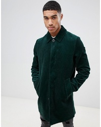 ASOS DESIGN Single Breasted Cord Trench Coat In Bottle Green
