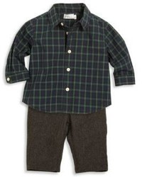 Ralph Lauren Babys Two Piece Cotton Poplin Shirt Merino Wool Pants Set