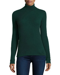 Neiman Marcus Cashmere Basic Turtleneck Sweater Green