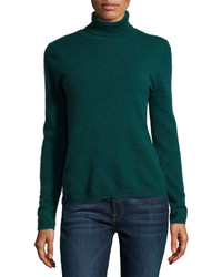 Neiman Marcus Cashmere Turtleneck Sweater Green
