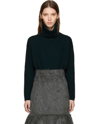 Prada Green Elbow Patch Turtleneck