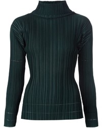 Pleats Please By Issey Miyake Pleated Turtle Neck Sweater