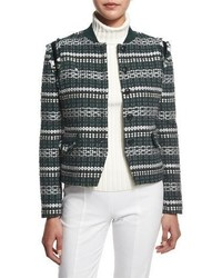 Tory Burch Norfolk Tweed Button Front Jacket Horseback Tweed