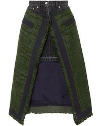 Dark Green Tweed Midi Skirt
