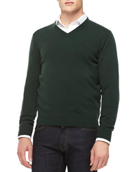 616886d01a9 How to Wear a Dark Green V-neck Sweater For Men (18 looks   outfits ...