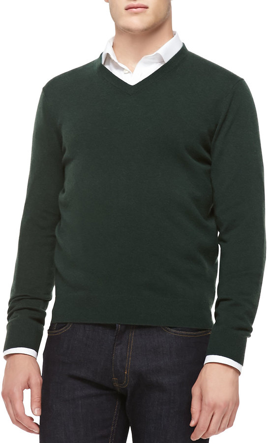 Neiman Marcus Cashmere V Neck Sweater Green | Where to buy & how ...