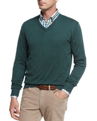 Crown soft cotton v neck sweater medium 4105788