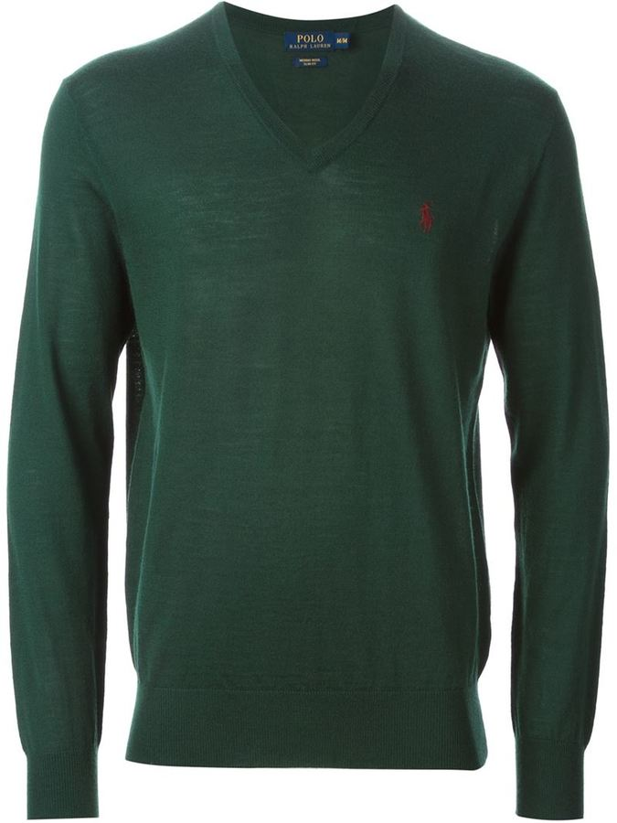 ... Dark Green V-neck Sweaters Polo Ralph Lauren Slim Fit V Neck Sweater