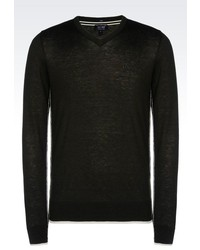 Armani Jeans V Neck Jumper In Wool And Viscose