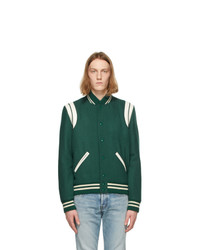 Saint Laurent Green Wool Teddy Bomber Jacket
