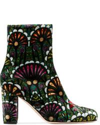 Dark Green Velvet Ankle Boots