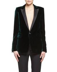 Velvet peak lapel blazer emerald medium 3741441