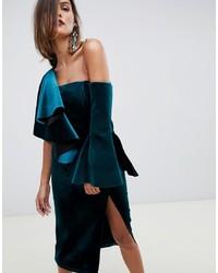 ASOS EDITION Velvet Midi Pencil Dress With Ruffle