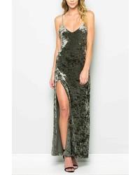 Dark Green Velvet Cami Dress