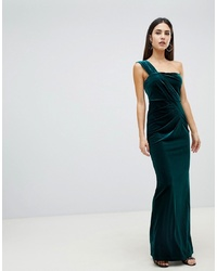 64a0141d91c ... ASOS DESIGN One Shoulder Velvet Maxi Dress With Ruched Detail