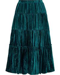 MICHAEL Michael Kors Tiered Pliss Velvet Midi Skirt